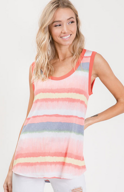 Sleeveless Watercolour Print Top