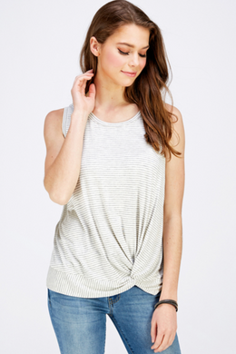 Mini Striped Modal Twist Front Tank (2 Colours)