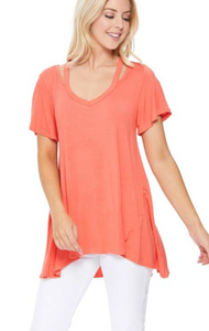 V-neck Cut Out SS Top (2 Colours)