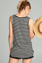 Load image into Gallery viewer, Striped Sleeveless Twist Top - Black