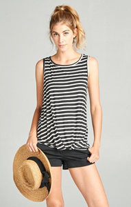 Striped Sleeveless Twist Top - Black