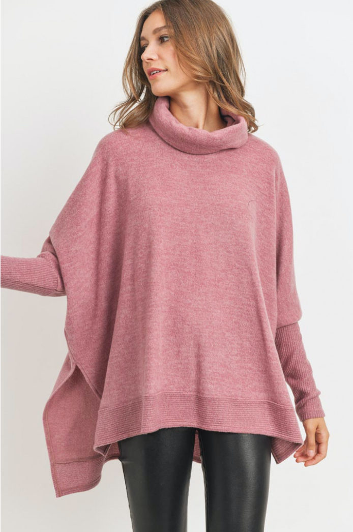 Cowl Turtle Neck High-Low Tunic (2 Colours)