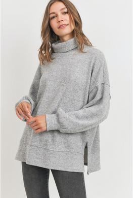 Cowl Neck Balloon Sleeve Brushed Sweater