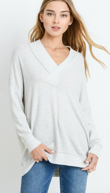 V-Neck Brush Knit Sweater (Wine Only)