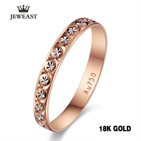 c31da1201b 18k Pure Gold Ring Women Rose Engagement Wedding Bands Jewelry Carved Design  Real Solid 750 Party