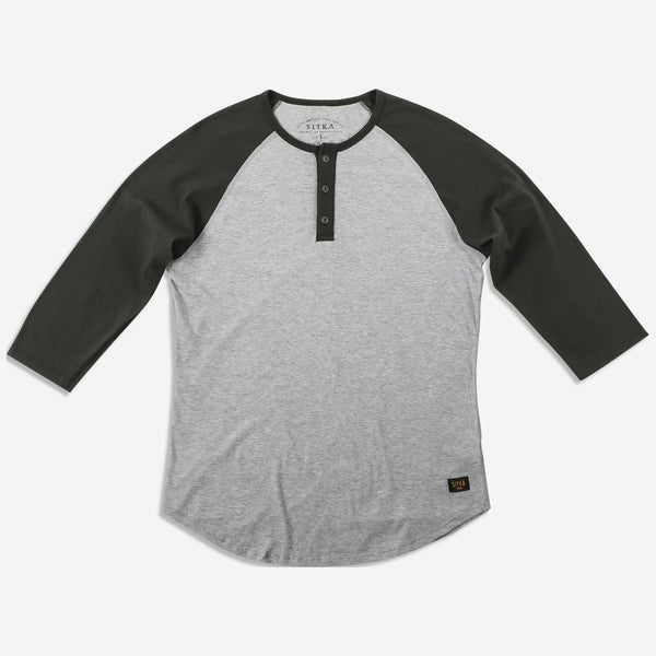 Mens Organic Athletic Henley (Heather Grey/Sitka Green)