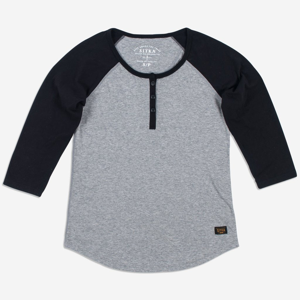 Womens Organic Athletic Henley (Heather Grey/Black)