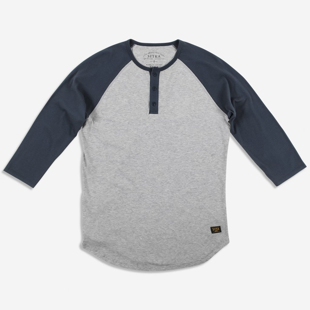 Mens Organic Athletic Henley (Heather Grey/Ocean Blue)
