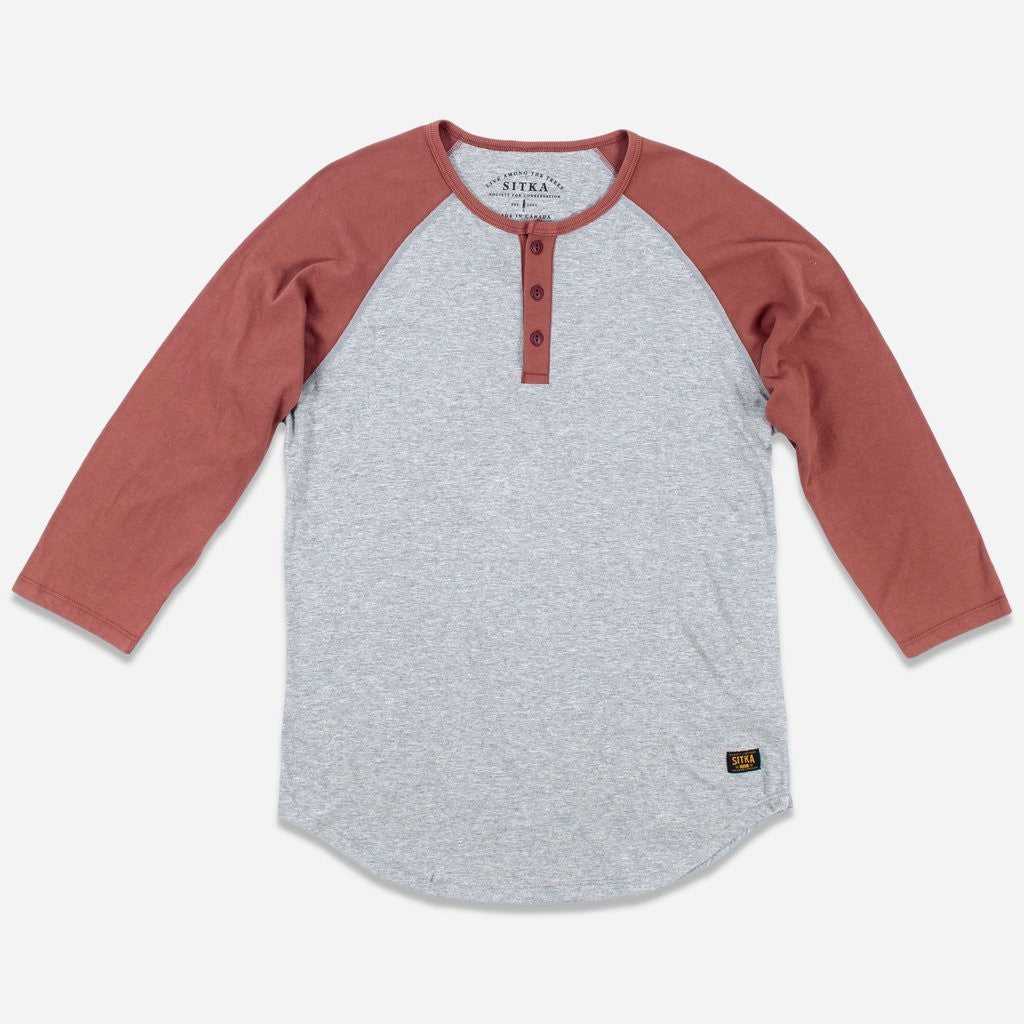 Mens Organic Athletic Henley (Heather Grey/Copper Paint Red)