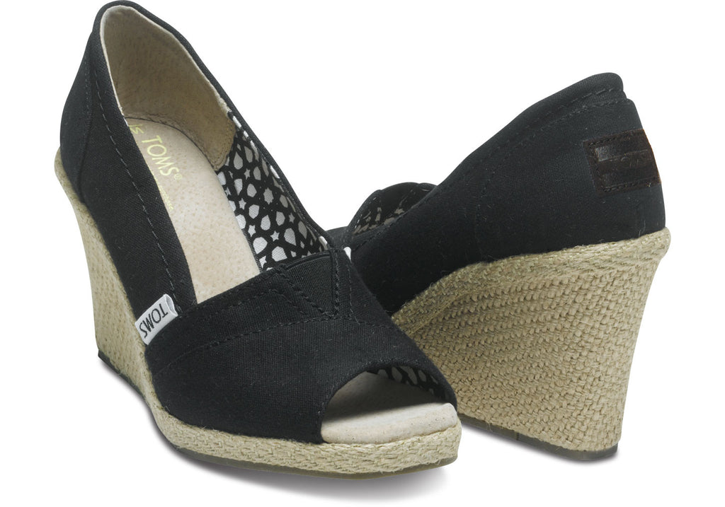 Womens Black Canvas Wedges