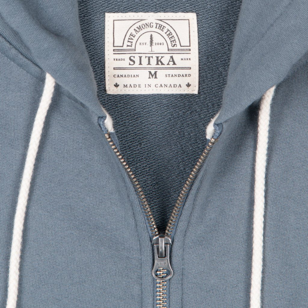 Mens Organic Mid Weight Zip Standard Hoody (Heron Blue)