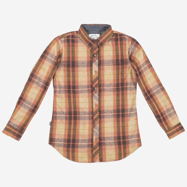 Womens Abel Plaid Button Up (Orange/Brown)