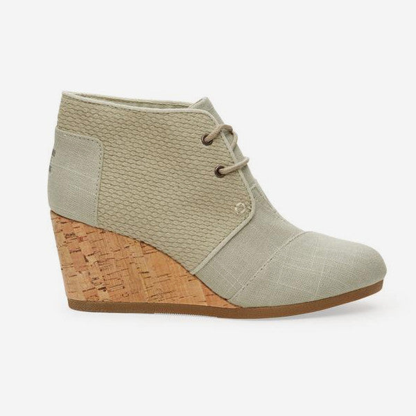 Womens Agate Burlap Textured Desert Wedge