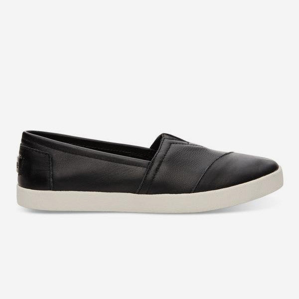 Womens Black Leather Avalon Slip Ons