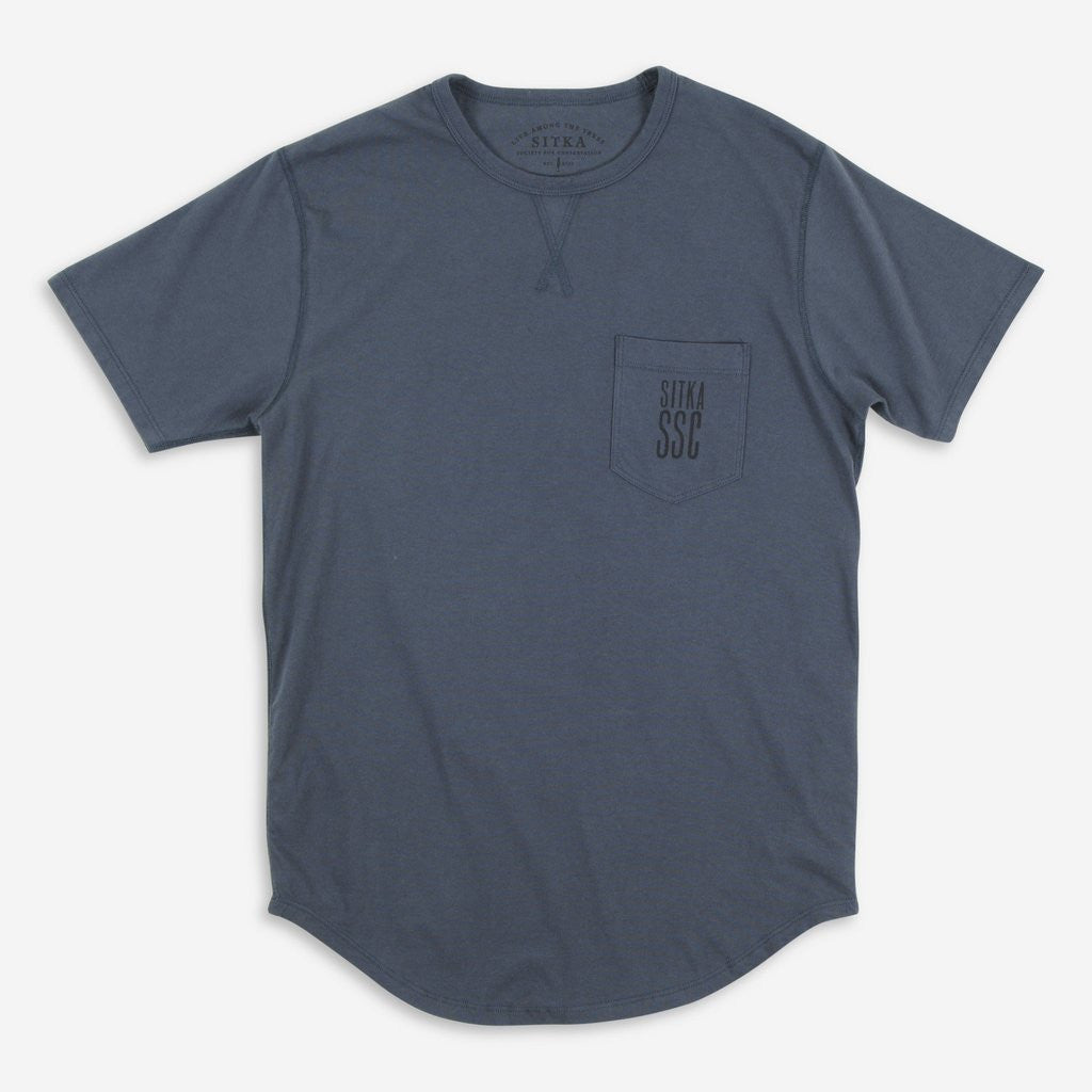 Mens Organic Athletic Pack It Out Pocket T-Shirt (Ocean Blue)