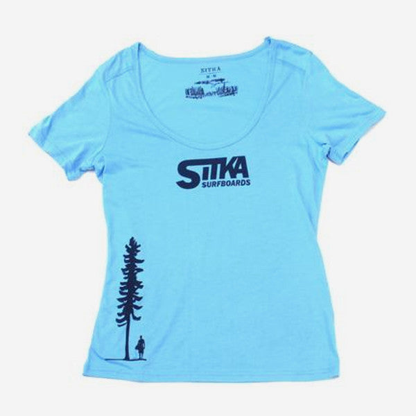 Womens Bamboo Classic Surf Scoop Neck Tee - Bonnie Blue