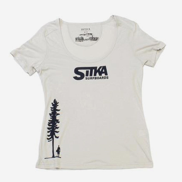 Womens Bamboo Classic Surf Scoop Neck Tee - White Sand