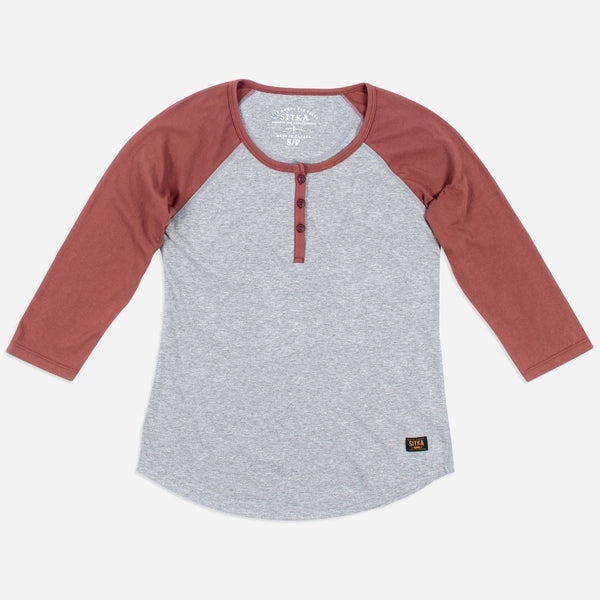 Womens Organic Athletic Henley (Heather Grey/Copper Paint Red)