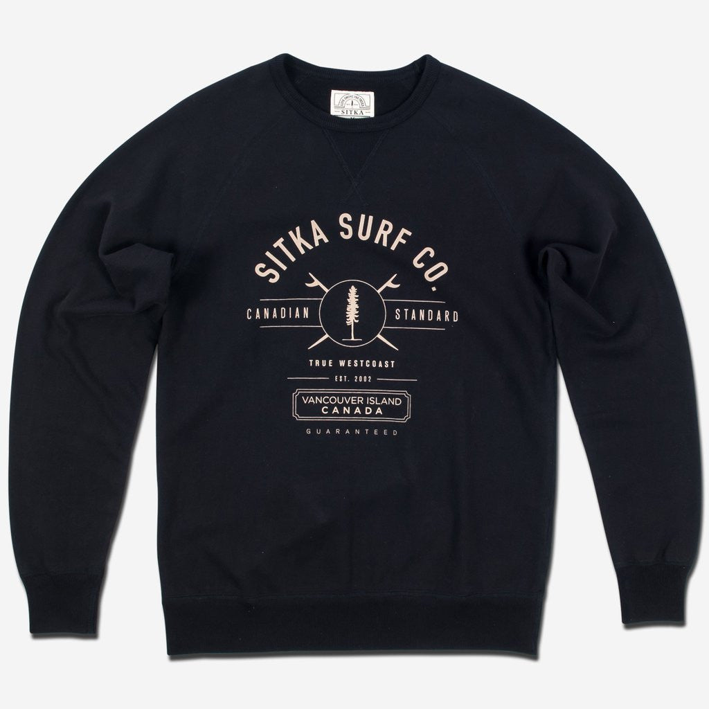 Mens Organic Mid Weight Surf Co. Crew (Black)