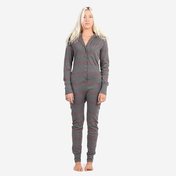 Womens Long Jane Silver One Piece – Burgundy Stripe