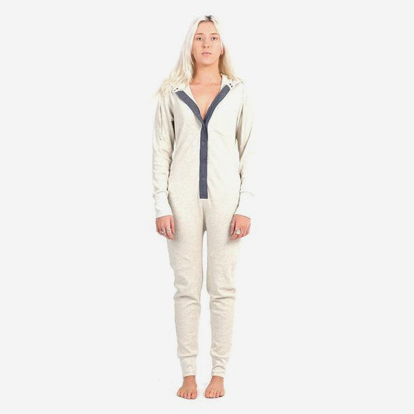 Womens Long Jane Silver One Piece - Oatmeal
