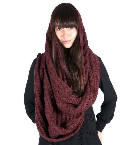 Womens Blue Grass Loop Scarf - Sable Red