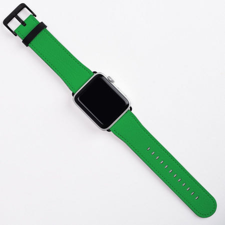 Apple Watch Band (40, 38mm) Vegan Leather Strap Black Buckle, iWatch Green