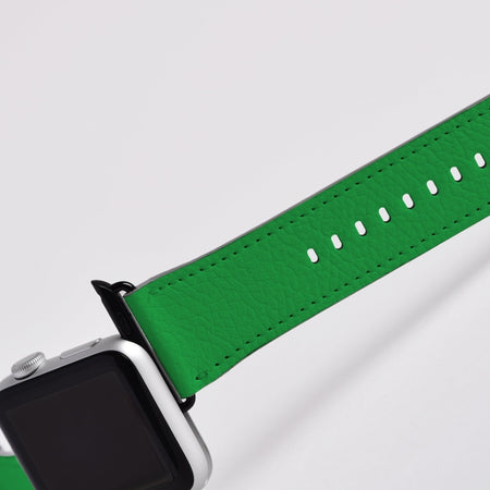 Apple Watch Band (44,42,40, 38mm) Vegan Leather Strap Black Buckle, iWatch Green