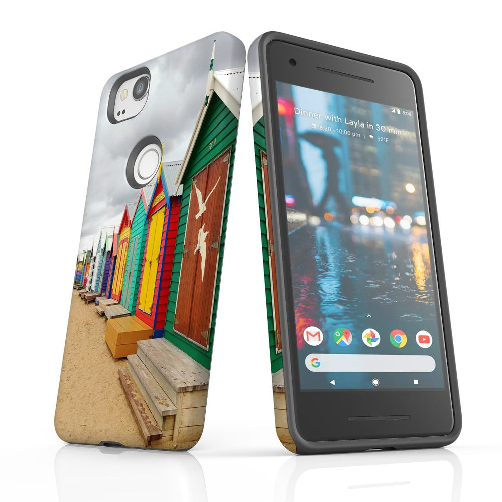 Google Pixel 2 Case, Protective Back Cover, Brighton Bathing Boxes