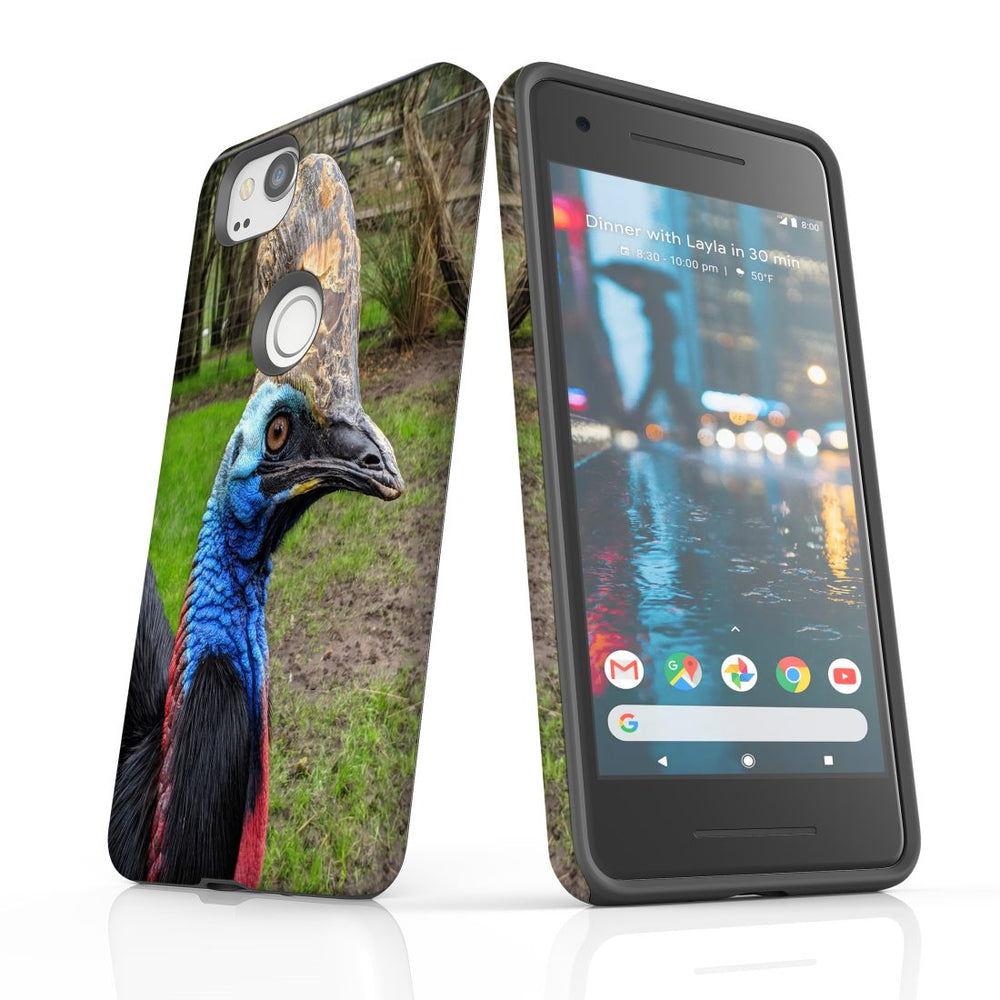 Google Pixel 2 XL, 2, 1 XL & 1 Case, Protective Back Cover, Cassowary