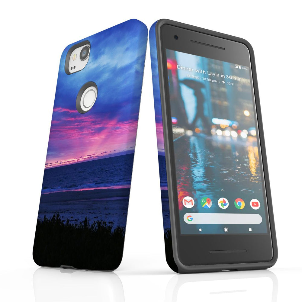Google Pixel 2 Case, Protective Back Cover, Sunset at the Beach