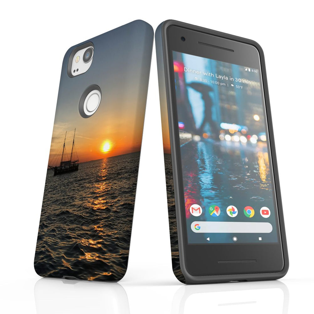 Google Pixel 2 Case, Protective Back Cover, Sailing Sunset