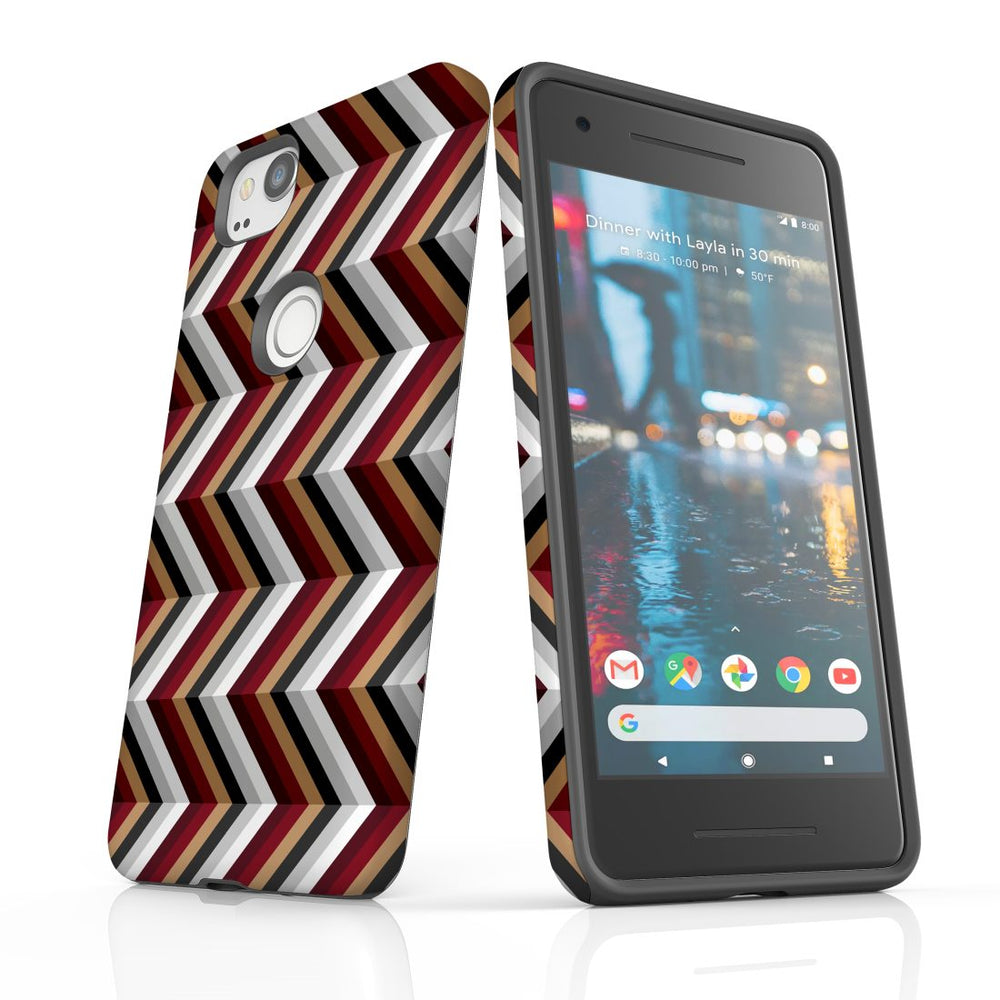 For Google Pixel 2 Protective Case, Zigzag Black Brown Red Pattern