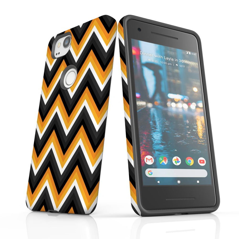 For Google Pixel 2 Protective Case, Zigzag Black Orange  Pattern