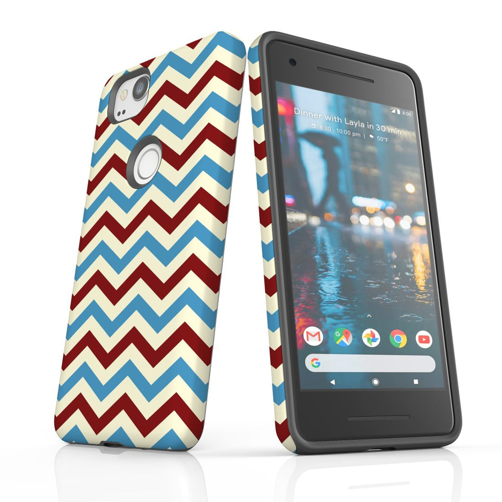 For Google Pixel 2 Protective Case, Zigzag Blue Red Pattern