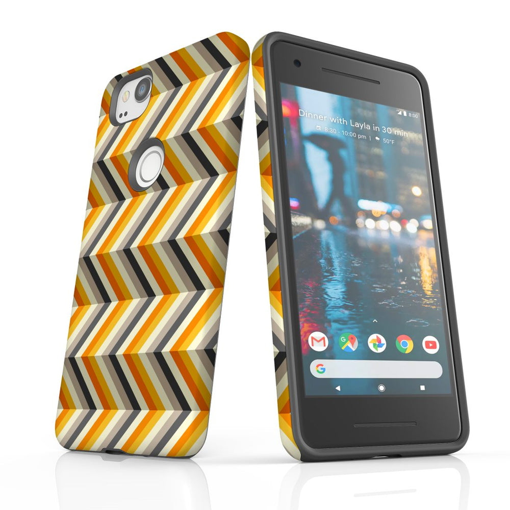 For Google Pixel 2 Protective Case, Zigzag Left Right Yellow Pattern