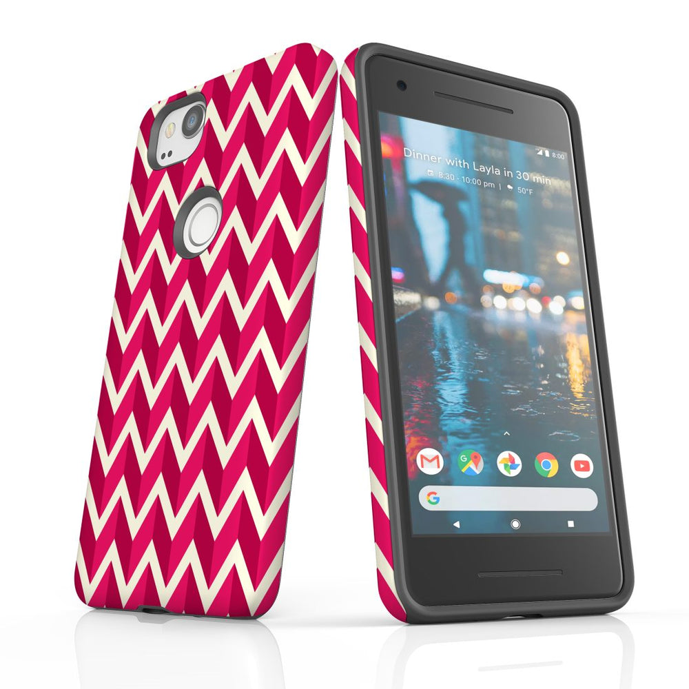 For Google Pixel 2 Protective Case, Zigzag Magenta Pattern