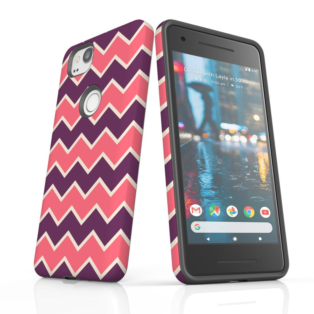 For Google Pixel 2 Protective Case, Zigzag Pink Purple Pattern