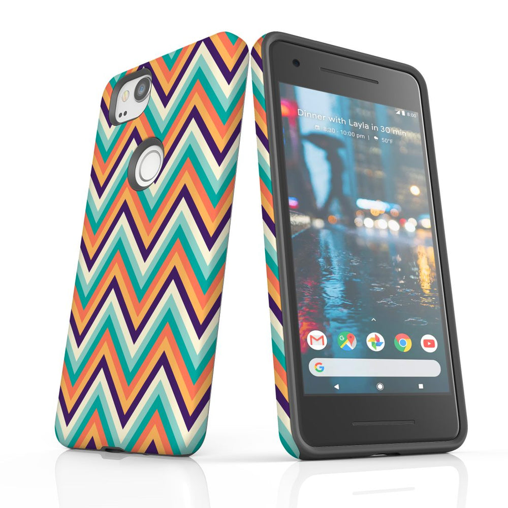 For Google Pixel 2 Protective Case, Zigzag Rainbow Pattern