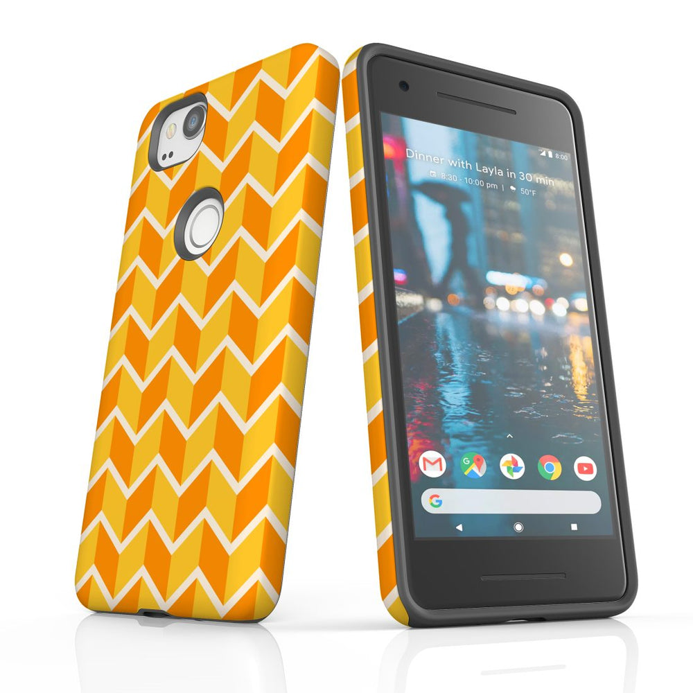For Google Pixel 2 Protective Case, Zigzag Yellow Orange  Pattern
