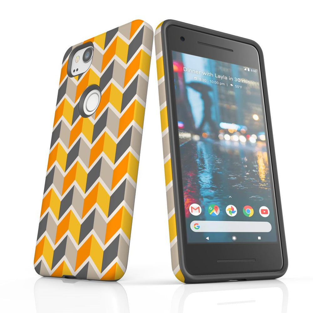 For Google Pixel 2 Protective Case, Zigzag Yellow Pattern