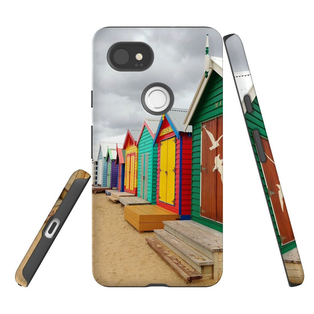 Google Pixel 2 XL Case, Protective Back Cover, Brighton Bathing Boxes