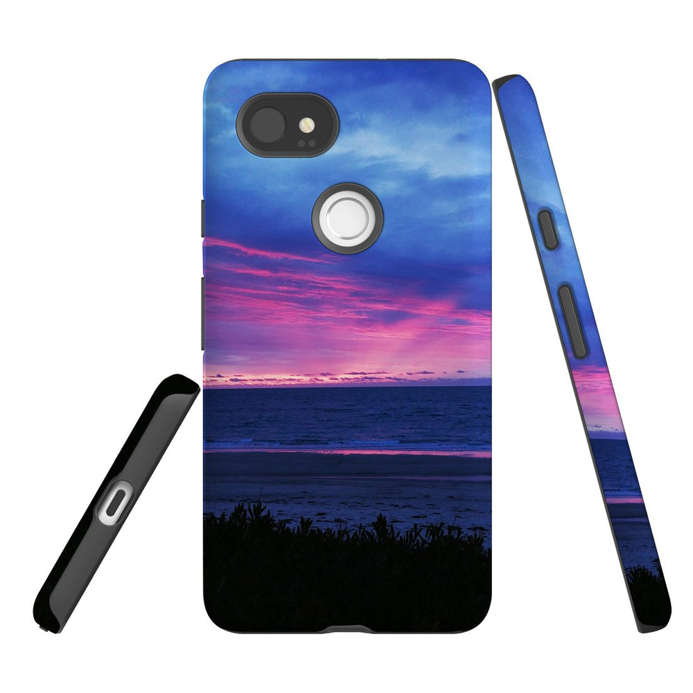 Google Pixel 2 XL, 2, 1 XL & 1 Case, Protective Back Cover, Sunset at the Beach