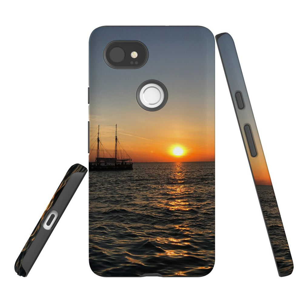 Google Pixel 2 XL, 2, 1 XL & 1 Case, Protective Back Cover, Sailing Sunset