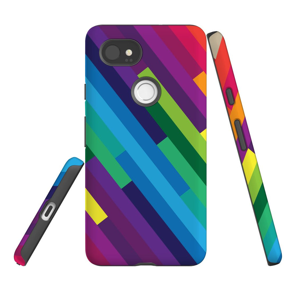 For Google Pixel 2 XL, 2, 1 XL & 1 Case Protective Case, Rainbow