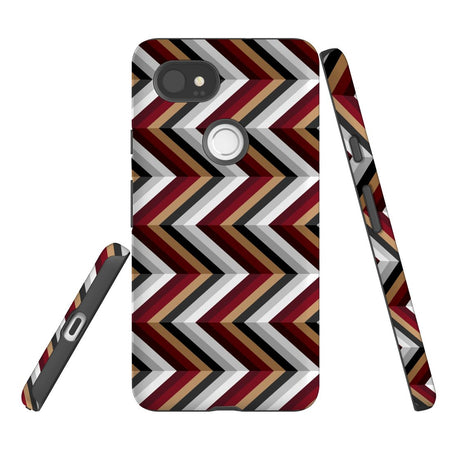 For Google Pixel 2 XL, 2, 1 XL & 1 Case Protective Case, Zigzag Black Brown Red