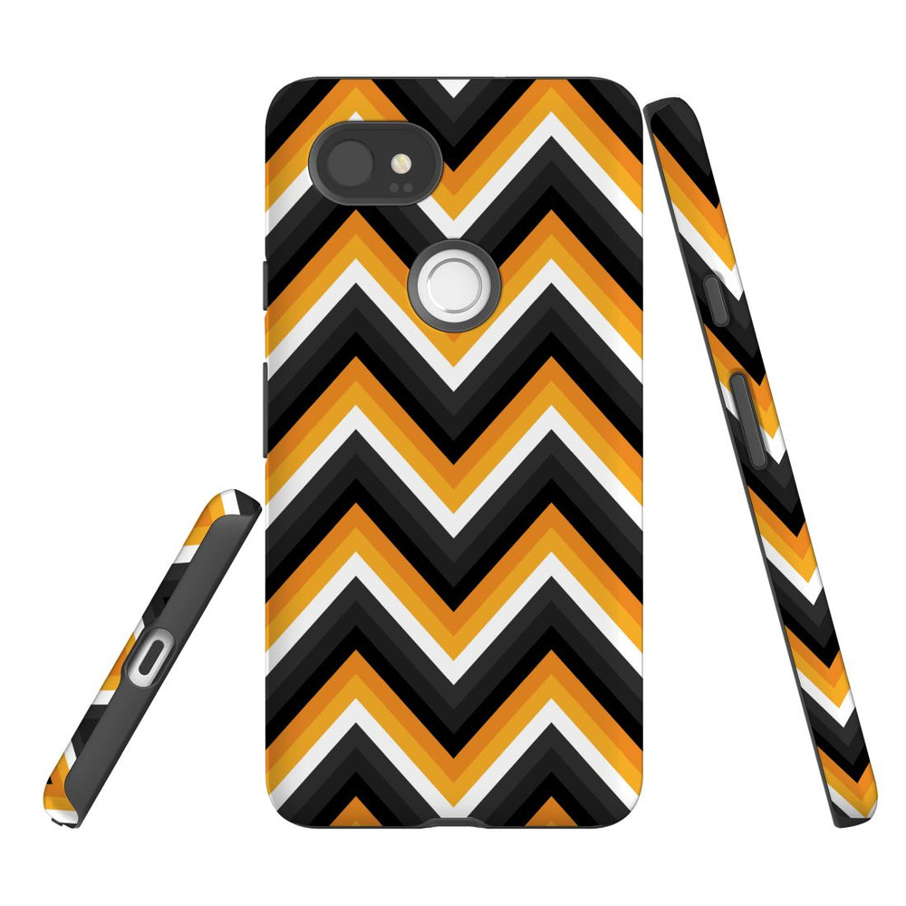 For Google Pixel 2 XL, 2, 1 XL & 1 Case Protective Case, Zigzag Black Orange