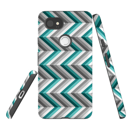 For Google Pixel 2 XL, 2, 1 XL & 1 Case Protective Case, Zigzag Blue Grey