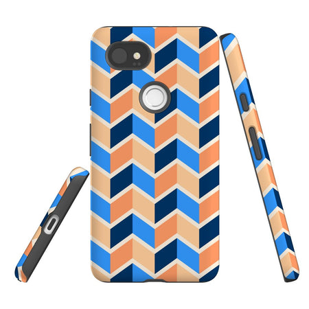 For Google Pixel 2 XL, 2, 1 XL & 1 Case Protective Case, Zigzag Blue Orange