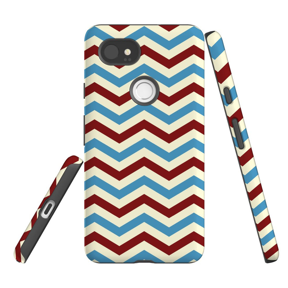 For Google Pixel 2 XL, 2, 1 XL & 1 Case Protective Case, Zigzag Blue Red